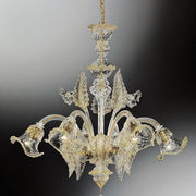 Clear Venetian glass floral chandelier with 6 lights