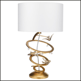 Gold rings and birds table lamp