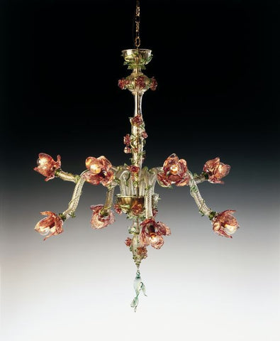Ruby gold and green Murano glass art floral chandelier
