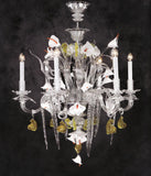 Ippocampo white & orange Murano glass lily chandelier