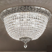 Bohemian Crystal Flush Ceiling Fitting in Silver
