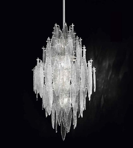 Modern Murano glass & LED ceiling pendant in 6 finishes
