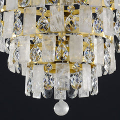 Modern rock crystal chandelier with silver or gold frame