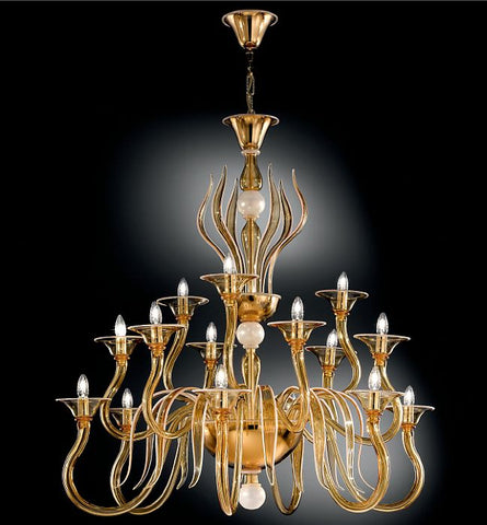 Amber Venetian glass 15 arm chandelier