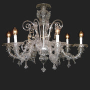 Crystal clear Murano glass 6 light chandelier