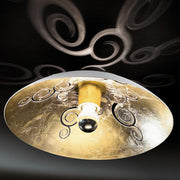 Domed white and gold-leaf Italian ceiling light fitting