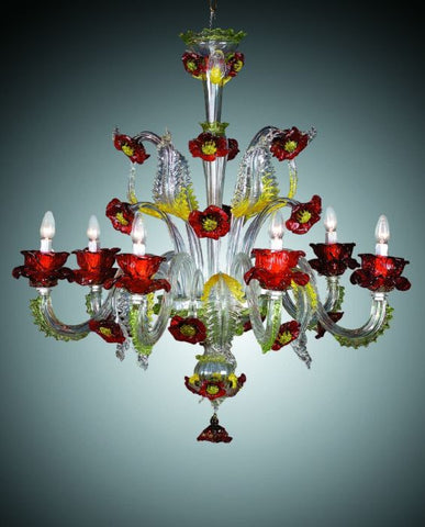 Murano glass chandelier with red and yellow flowers