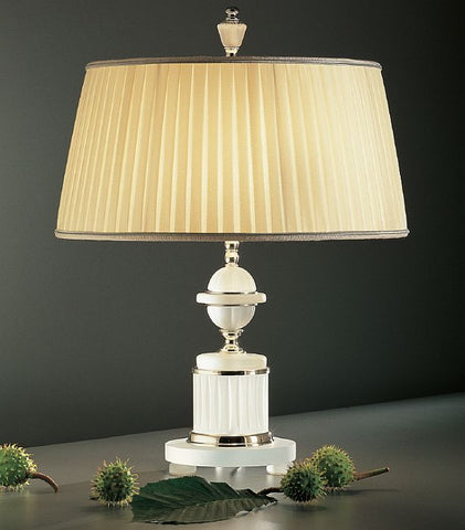 Frosted Italian crystal lamp with pleated silk shade