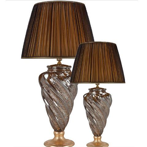Silvered ceramic twisted glass table lamp with leaf detail