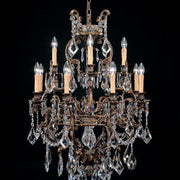 Turkish crystal and brass oxide Italian chandelier