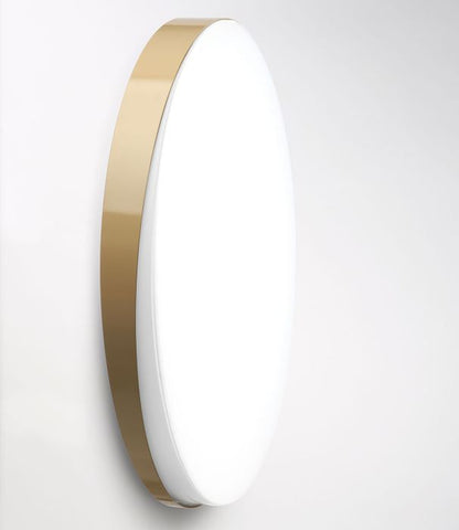 Modern round metal wall light with choice of finish