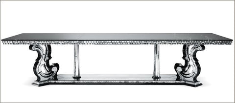 Long refectory dining table with marble top & Venetian mirror
