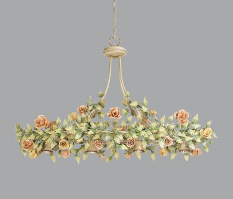 Light Gold Metal Chandelier with Leaves & Flowers