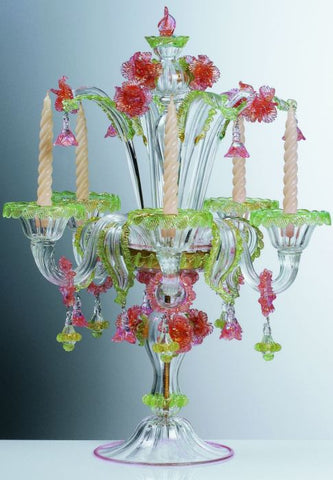 Colourful Murano glass chandelier or flambeau lamp