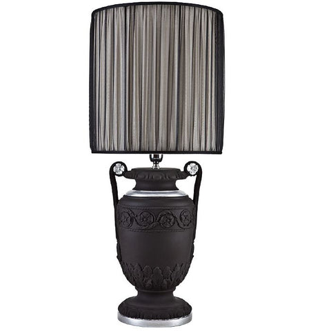 Black and silver ceramic table light with flower design