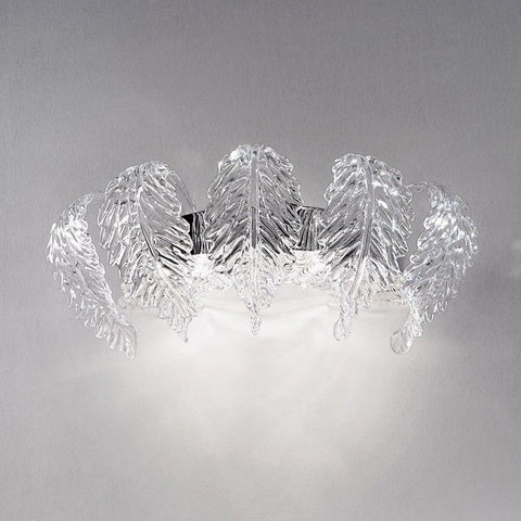 Glass art wall light with Murano glass leaves