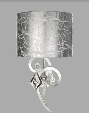 Bohemian crystal and silver leaf wall light with shade