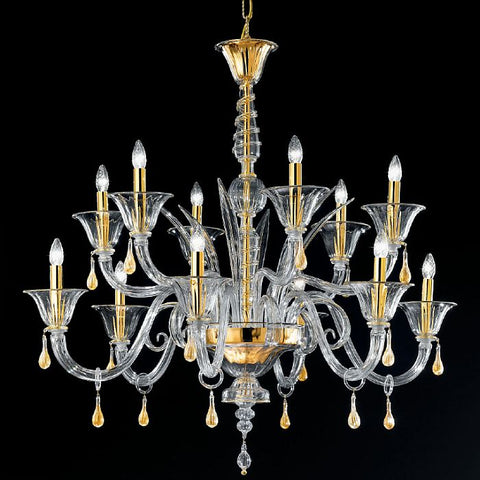Handcrafted Murano crystal and gold chandelier