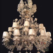 White 30 arm Murano glass Rezzonico style chandelier with shades