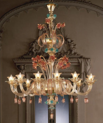 Ruby, gold & blue Murano glass 12 light floral chandelier
