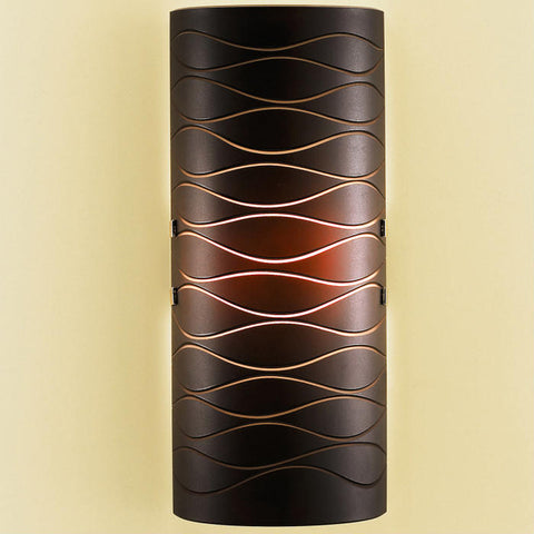 Red-brown etched glass modern Italian wall light