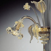 Murano glass wall chandelier with floral decoration