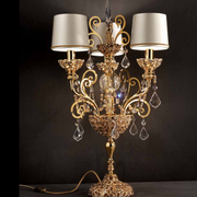 Ornate classic gold or silver-plated Italian table lamp with  Swarovski crystals