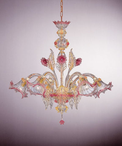 Murano Chandelier with pink roses and 24 carat gold