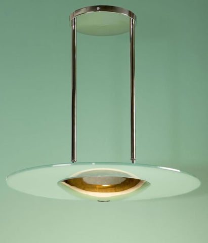 Customizable steel and frosted glass pendant light