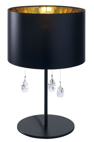 Black or white table lamp with crystal pendants and shade