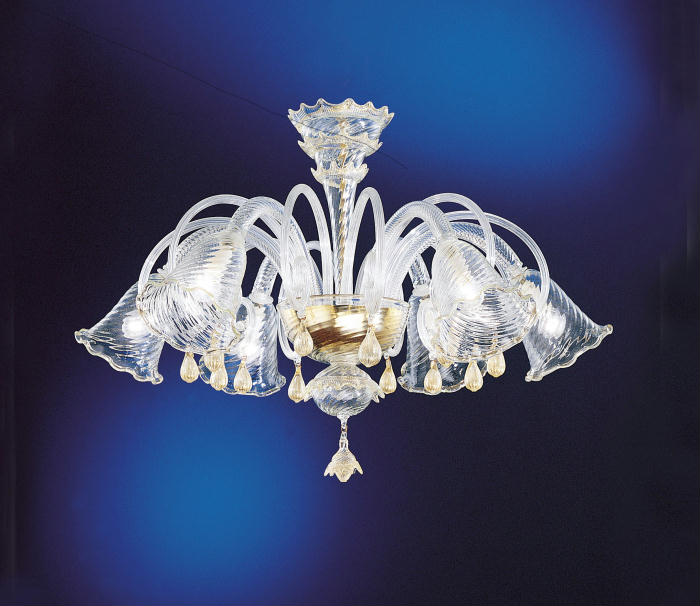 Murano glass chandelier with fluted shades for low ceilings