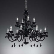 Bohemian crystal or Italian glass pendant chandelier - 3 colours