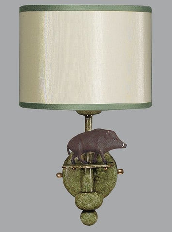 Metal Wild Boar Sconce with Silk Lampshade