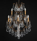 9light brass chandelier with Bohemian crystals