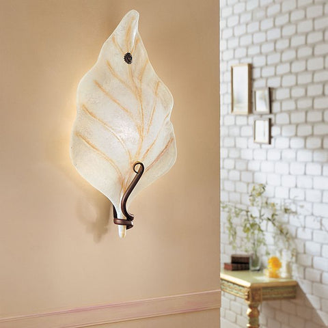 'Orione' Italian wall sconce with white glass leaf diffuser