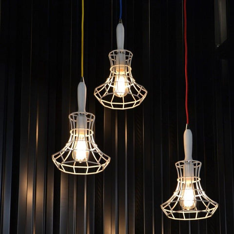 industrial chic lighting. Black Or White Cage Light With Handle \u0026 Coloured Cable Industrial Chic Lighting G