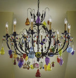 10 light Venetian chandelier with solid Murano glass fruits