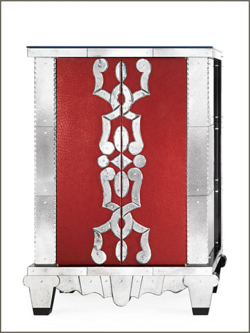 French art deco-style bar with red leather finish