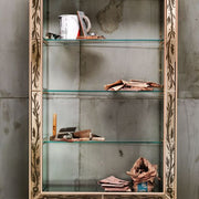 Tall maple bookcase with Venetian mirror inserts