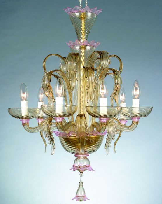 Murano glass chandelier with pink and smoked glass