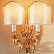 Two-light gold wall lamp with Venetian style silk shades