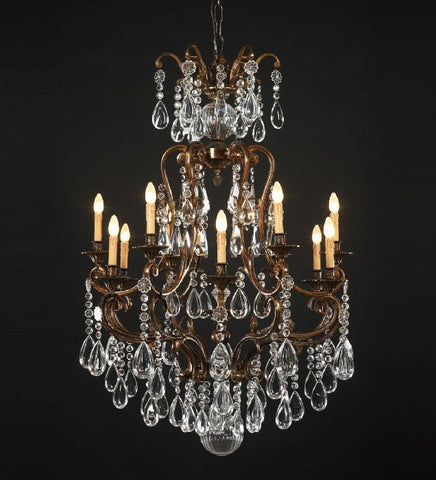 12 Light Brass Chandelier with Bohemian Crystals