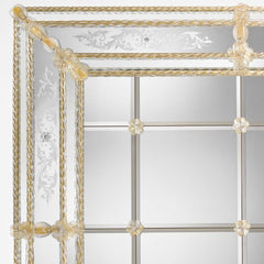 Oversized Venetian mirror with bevelled panels and Murano glass
