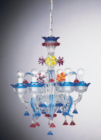 Blue and multi-coloured Murano glass 6 light chandelier