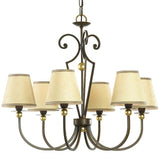 Six Arm Bronze Chandelier