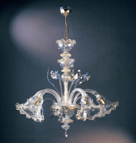 Murano glass chandelier with blue decorations
