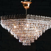Hexagonal basket chandelier with 24% lead crystal droplets
