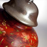 Classic red Chinese-style table lamp with handpainted flowers