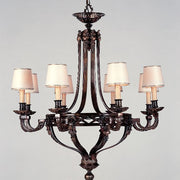 Antique style brass oxide chandelier with 8 shades