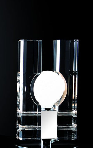 Small optical crystal and chrome table lamp